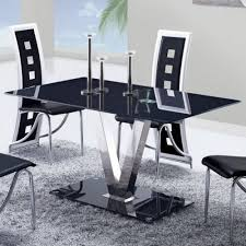 global furniture usa 551dt black glass dining table w stainless