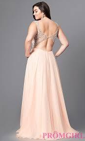 long beaded chiffon plus size prom dress promgirl