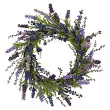 decorative wreaths for the home nearly natural 20 0 in h purple lavender wreath 4785 the home depot