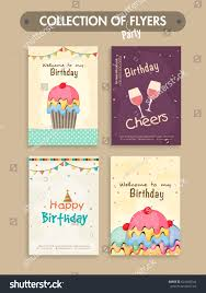 Design Invitation Card For Birthday Party Set Four Birthday Party Flyers Invitation Stock Vector 624466544