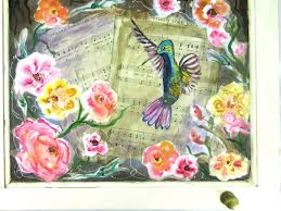 how to paint a hummingbird and flowers mixed media shabby chic