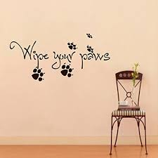 wall decals quotes about dogs cat wipe your paws grooming salon