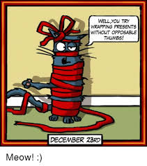 Wrapping Presents Meme - wellyou try wrapping presents without opposable thumbs december