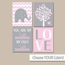 Pink Elephant Nursery Decor Pink Gray Nursery Elephant Nursery Wall Baby