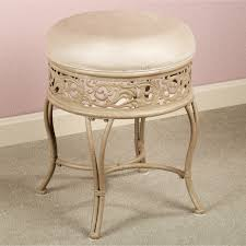 vanity chair with skirt light broen polished iron vanity stool with round microfiber padded