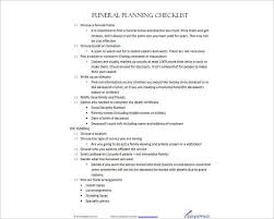 funeral planning checklist funeral checklist templates free word pdf document creative