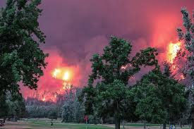 Wild Fire Columbia Gorge by Real Golfers Play On Beacon Rock Course As Oregon Wildfire Burns