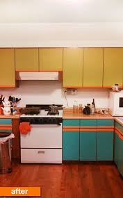 how to paint particle board cabinets before after plain particleboard cabinets get a cheery