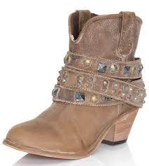 corral womens studded strap ankle cowboy boots taupe ankle