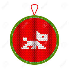christmas pattern knit fabric christmas pattern knit dog as symbol of new year 2018 on red