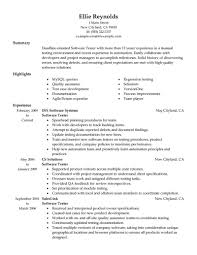 Best Resume Format For Fresher Software Engineers by Qa Tester Sample Resume Manual Testing Samples For Experienced