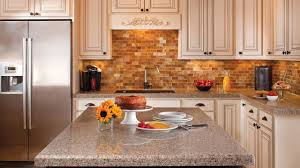 Brick Kitchen Backsplash by L Shape Kitchen Decorating Using Brown Brick Tile Kitchen