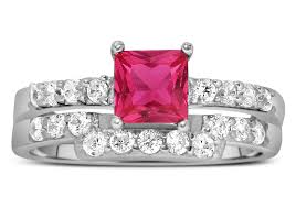 Pink Wedding Rings by 2 Carat Pink Sapphire And Diamond Wedding Ring Set In White Gold