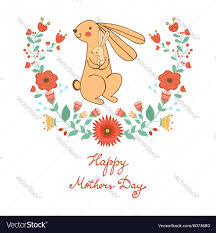 Mother Day Card by Happy Mothers Day Card With Cute Rabbits Mom And Vector Image