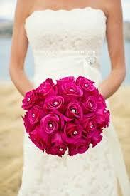 Rose Bouquet Fuchsia 9in Purple Lisianthus Bouquet Artificial Silk Wedding Flowers