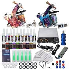 tattoo kit without machine beginner tattoo kit 2 machine guns 20 color ink power supply needles
