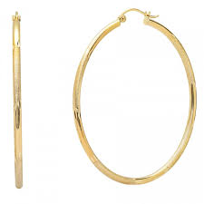 gold hoops yellow gold satin and diamond cut medium hoop earrings