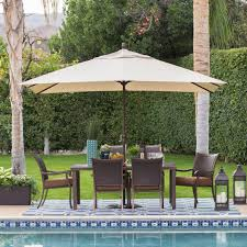 Patio Umbrella Side Table by Coral Coast 9 Ft Spun Poly Push Button Tilt Wind Resistant Patio