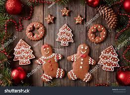 gingerbread man woman fir stars christmas stock photo 349490846