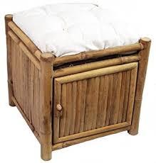 Cushioned Ottoman Bamboo Square Storage Ottoman W Cushion In
