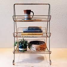 eames wire side table eames era shelf mid century brass double decker magazine rack side