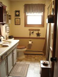 retro bathroom decor small leather padded stool beside floating