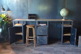 bureau m騁allique industriel bureau console bois métal industriel sur mesure micheli design