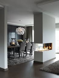 Dining Room Accent Wall  With Modern Bio Fireplace Founterior - Dining room accent wall