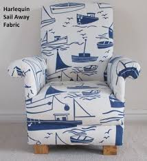 nautical chairs harlequin sail away fabric child chair blue white ships boats