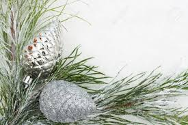tree limb with silver glass ornaments on white