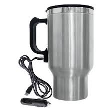 Brentwood Electric Coffee Mug With Wire Car Plug 16 Oz Silver by