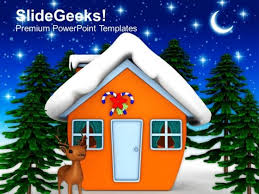 night scene of christmas eve holidays powerpoint templates ppt