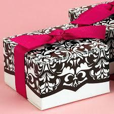damask ribbon black and white damask boxes with fuchsia ribbon