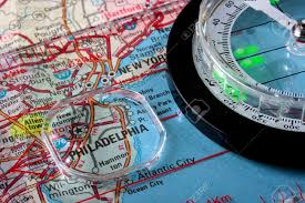 map of usa with compass usa map with the city of philadelphia and a compass with
