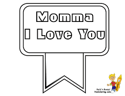 mothers day coloring page of momma i love you ribbon you can