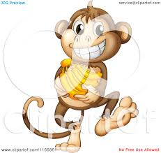 cartoon of a monkey carrying bananas royalty free vector clipart