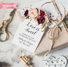 Thank You Tags Wedding Favors Templates by Printable Burgundy Pink Floral Gift Tag Wedding Thank You