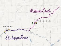 St Joseph River Map Nottawa Creek St Joseph County Michigan