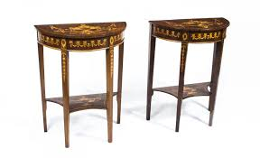 vintage pair burr walnut half moon marquetry console tables 20th
