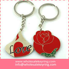 red key rings images Wholesale couple red rose keyring metal pair rose keychain key jpg