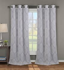 Linen Curtains With Grommets Single Jules Silver Print Window Curtain Panel W Grommets