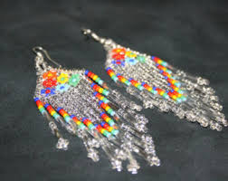 Native American Beaded Earrings Huichol Brick Stitch Earrings W Ojo De Dios Huichol Earrings Native
