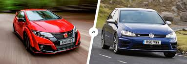 honda civic type r vs vw golf r fast face off carwow