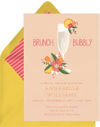 invitations for brunch brunch and bubbly invitations in pink greenvelope