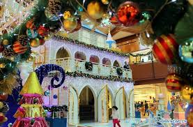 shopping centers in china decorate for christmas day xinhua