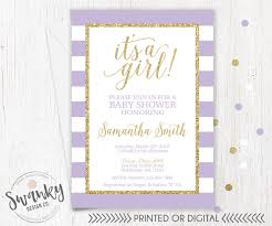 purple and gold baby shower invitation gold glitter baby