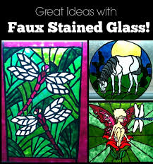 faux stained glass with paint and glue