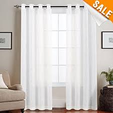 63 White Curtains Linen Like Sheer Curtains For Living Room Open Weave