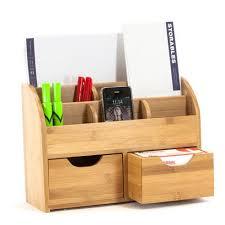 Desk Organizer Box Bamboo Desk Organizer Storables