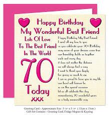 birthday card for best friend best friend 70th happy birthday gift set card keyring u0026 fridge